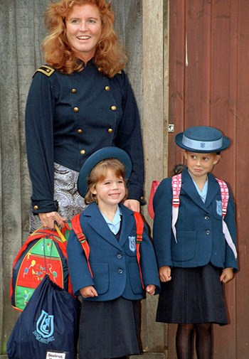 Fergie, Beatrice and Eugenie on Eugenie's first day of school in 1994.