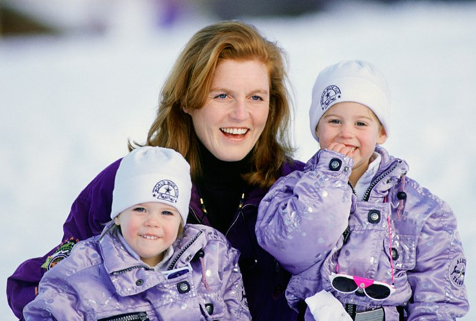 Fergie with her daughters during a ski trip to Klosters in 1992.