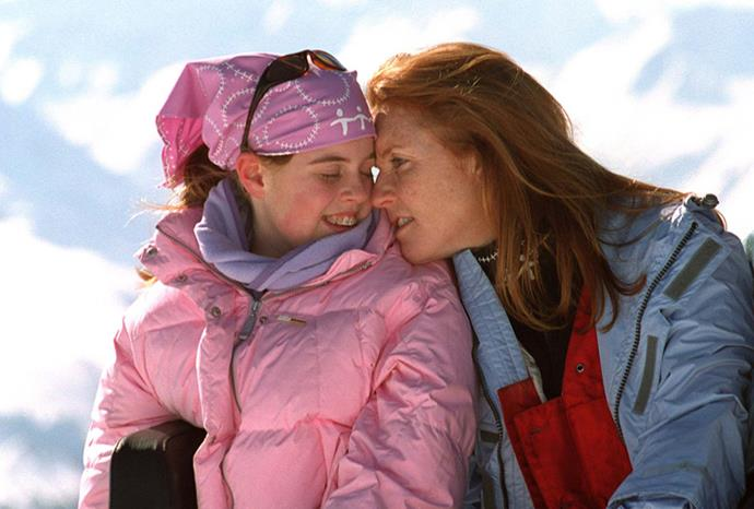 Fergie and Beatrice cuddle up in Verbier, Switzerland, in 2001.