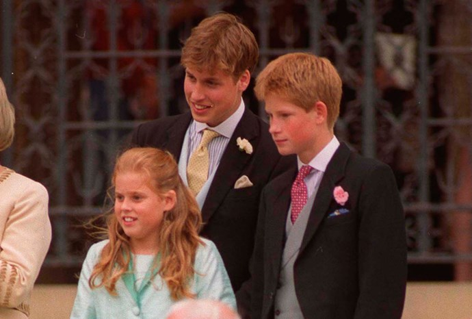William, Harry and Beatrice attending Prince Edward's wedding in 1999.