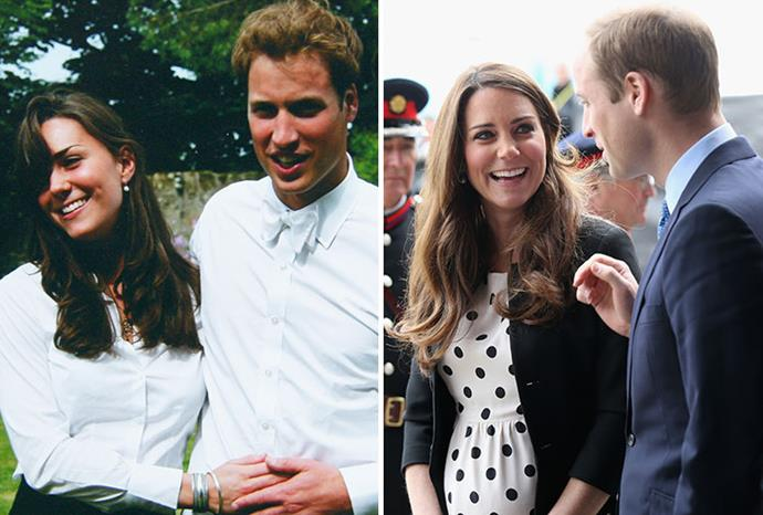 William and Kate in 2005 and last month.