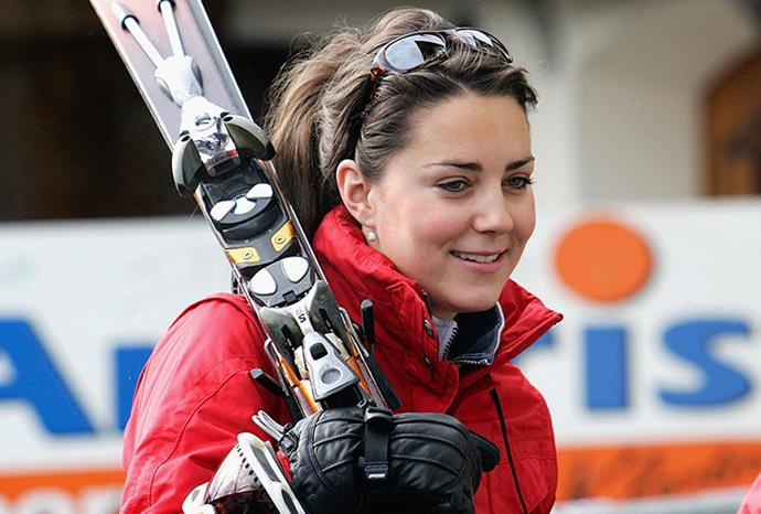Kate's girlfriend status was cemented when she joined Wills on the slopes in 2005.