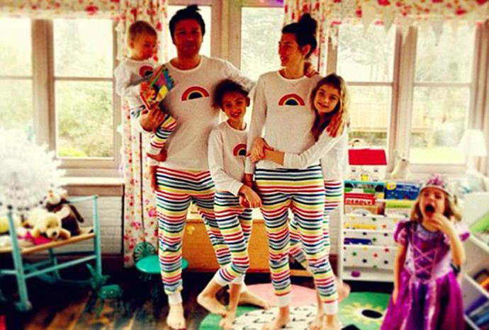 Jamie Oliver tweeted a picture of his family in matching pyjamas.