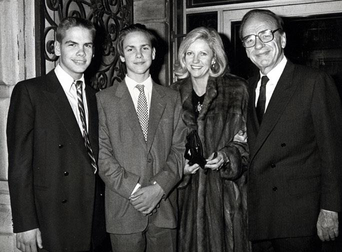 Rupert and Anna with their sons Lachlan and James in 1987.