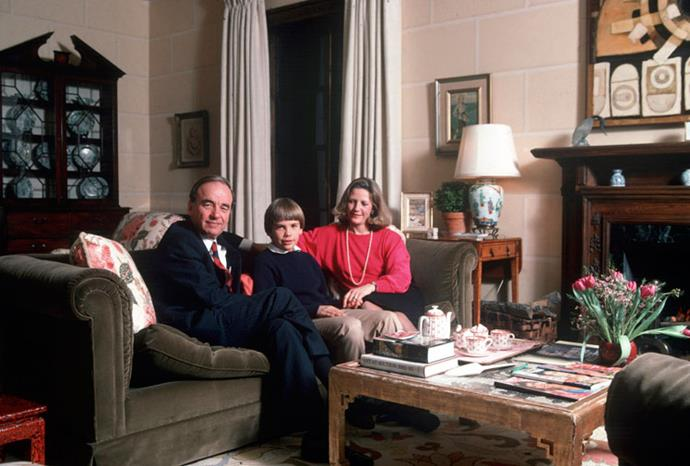 Rupert and Anna Murdoch with their son Lachlan in 1989.