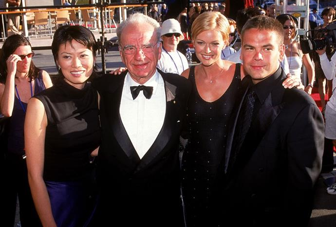 Rupert and Wendi with his son Lachlan and daughter-in-law Sarah in 1998.