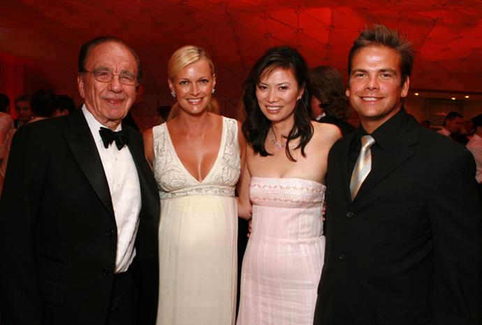 Rupert and Wendi with his son Lachlan and daughter-in-law Sarah in 2007.