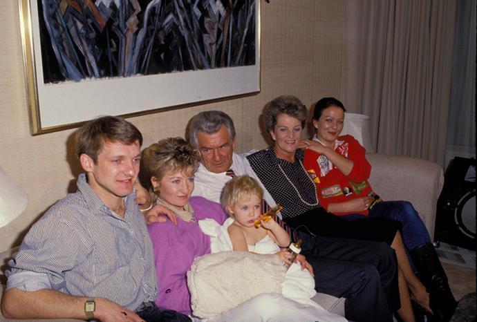 The family: Ian, Sophie, baby Sue, Bob, Hazel and Rosalyn Hawke.