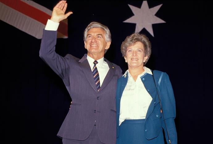 With husband Bob Hawke during the 1987 election campaign.