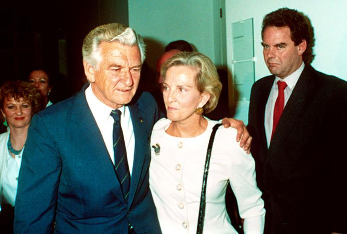 With then-husband Bob Hawke after he was voted out of the job as Australia's PM.