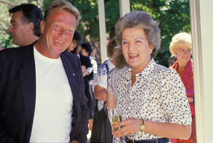 A great supporter of the arts. Picured with Jack Thompson at the opening of art week 1988.