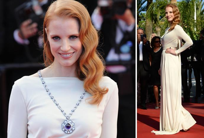 Jessica Chastain looking stunning in the priceless necklace.