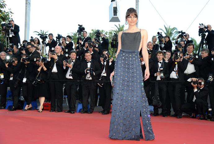 Milla Jovovich looked stunning in a jewel-encrusted gown.