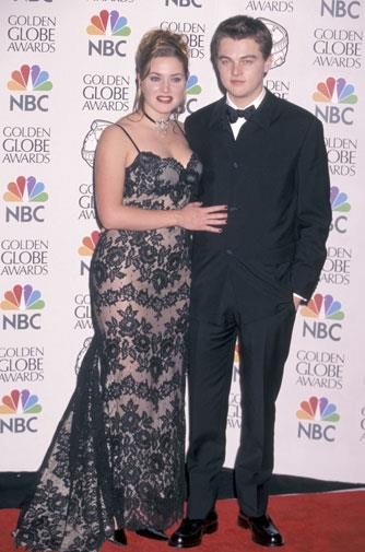 With *Titanic* co-star Kate Winslet in 1998.