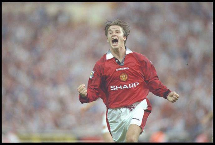 Beckham celebrating a goal for Manchester United in 1996.
