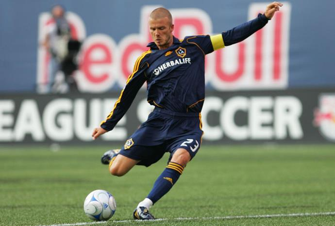 Playing for the LA Galaxy in 2008.
