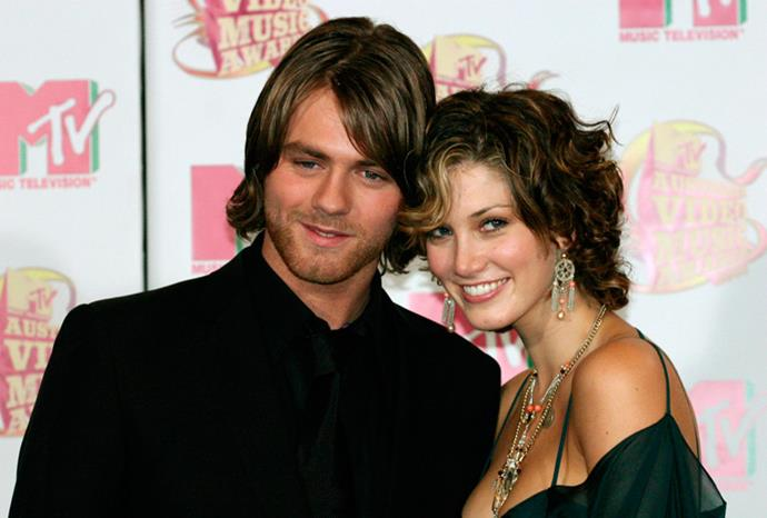 Delta and Brian looking loved up on the red carpet in 2005.