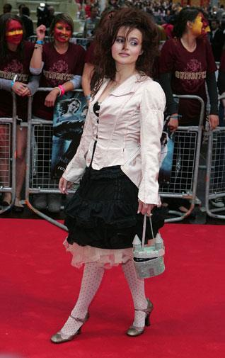 Yep, that handbag is shaped like a castle. At a Harry Potter film premiere in 2009.