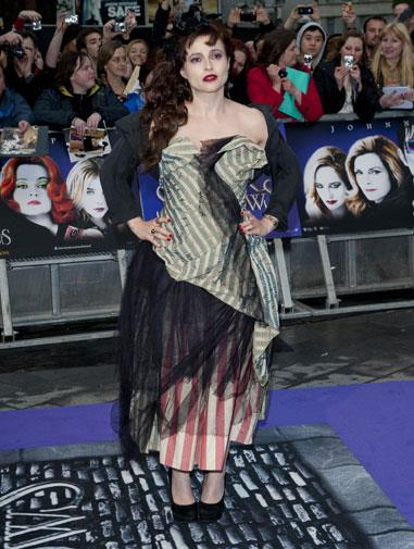 Stripes, stripes everywhere at the Dark Shadows premiere in 2012.