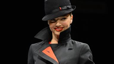 Miranda Kerr models new Qantas uniforms