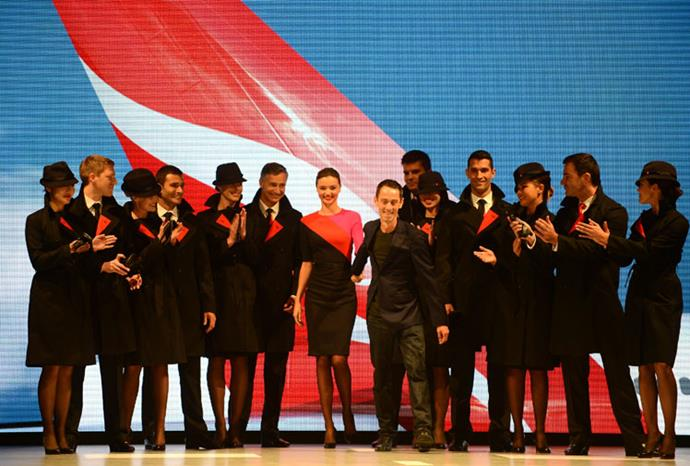 Qantas crew also modelled at the event.