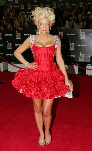 Lady in red at the 2010 Logie Awards.