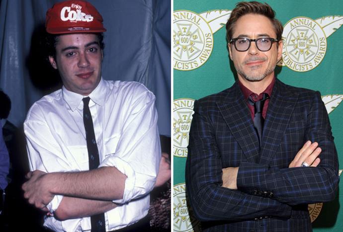 Robert Downey Junior in 1986 and 2013.
