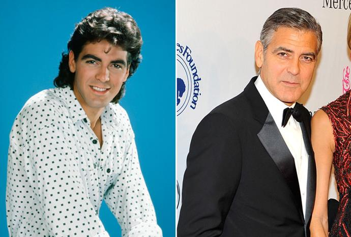 George Clooney in 1985 and 2013.