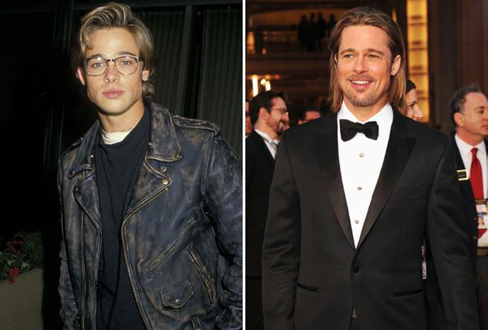 Brad Pitt in 1988 and 2012.