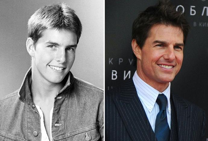Tom Cruise in 1980 and 2013.