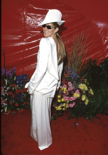 Celine Dion's infamous take on the pant suit in 1999.
