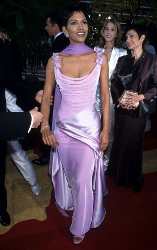 Halle Berry in lurid mauve in 1996.