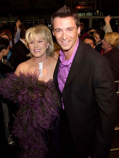 Looking baby-faced with Deborra-Lee in 2001.
