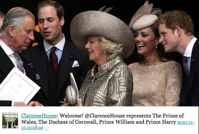 Clarence House has been representing the royal family on Twitter since 2010.