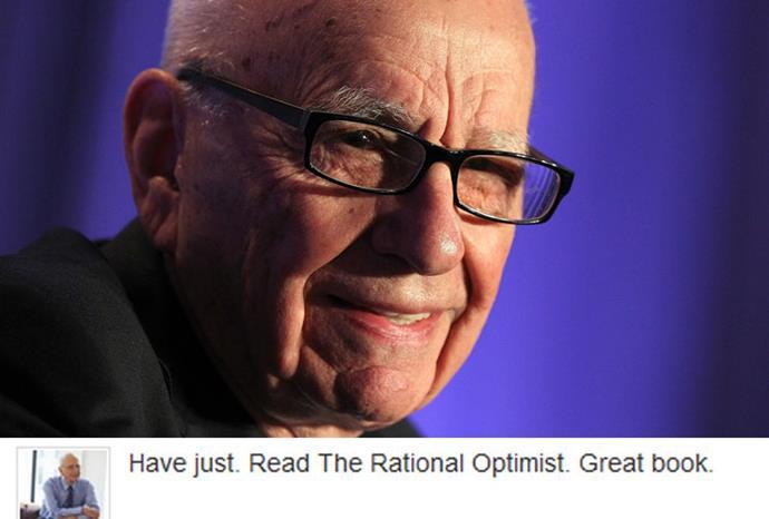 Rupert Murdoch sometimes has trouble wrestling with the keypad when he tweets.