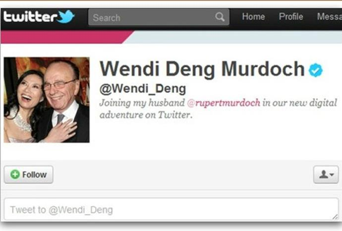 A parody account of his wife Wendi Deng fooled Twitter by earning a verification tick.