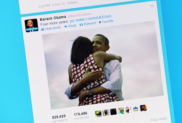Obama's post-election tweet with this picture is one of the most re-tweeted of all time.