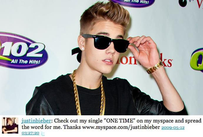 Justin Bieber's first update oddly linked to his Myspace account.
