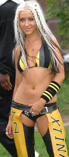 Christina Aguilera during her Dirrrty chaps phase.