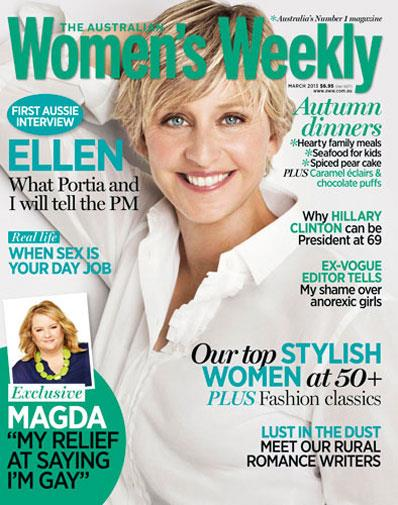 Ellen on the cover of the March issue of *The Weekly*.