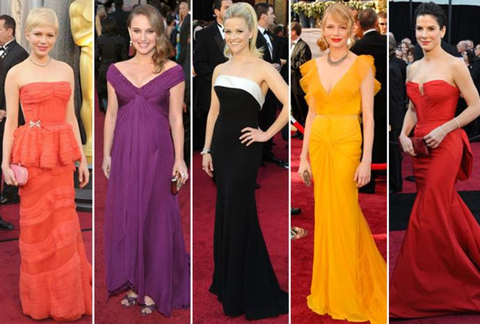 Michelle Williams, Natalie Portman, Reese Witherspoon, Michelle again, and Sandra Bullock.