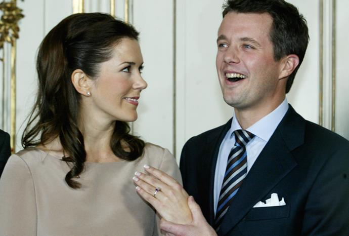 Mary and Frederik announce their engagement in October 2003.
