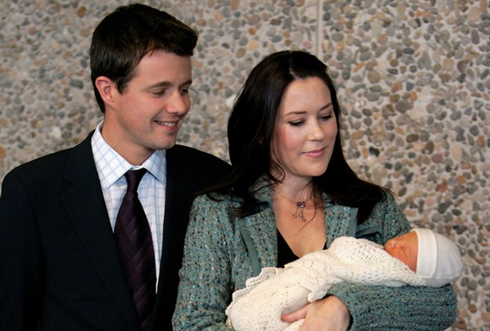 Mary and Frederik leave hospital with baby Christian.