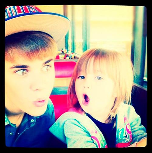 Justin Bieber shared this pic of him and his little sister.