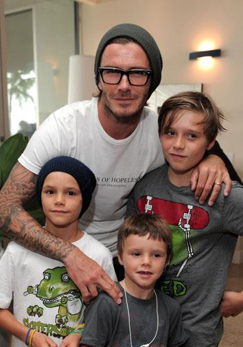 David with his stylish boys in October 2010.