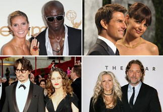 Heidi Klum and Seal; Tom Cruise and Katie Holmes; Johnny Depp and Vanessa Paradis; Danielle Spencer and Russell Crowe