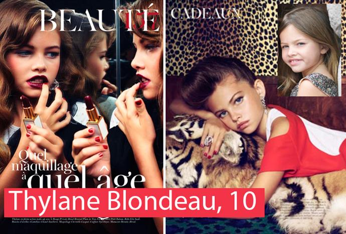 Thylane Blondeau at 10, in French *Vogue*.