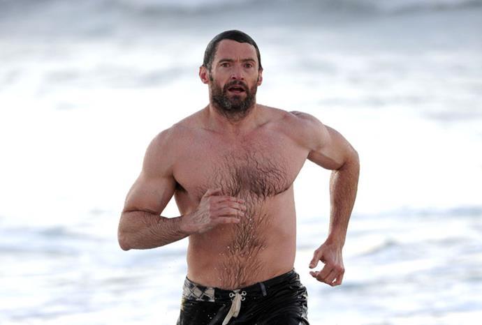 Hugh Jackman at Bondi Beach.
