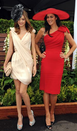 Miranda with Megan Gale at the Caulfield Cup in 2009.