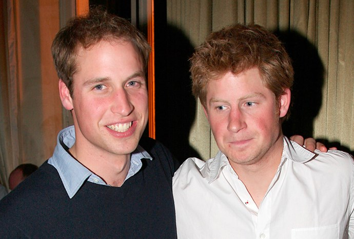 William and a rather merry-looking Harry at a Rugby World Cup after-party in 2007.